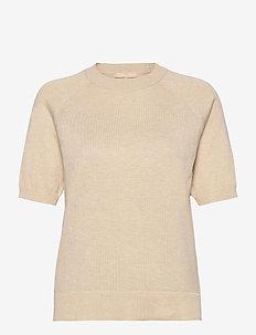 SRMarla SS O-neck Knit - strikkede toppe - whitecap gray