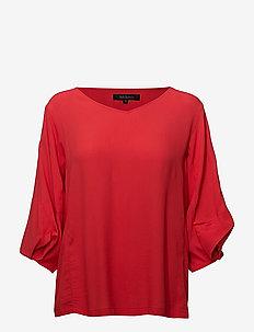 Keep Balloon Sleeve Blouse - long sleeved blouses - crimson
