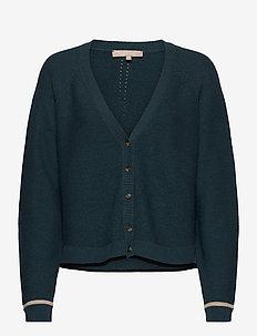 Rasanna V-neck Cardigan Knit - koftor - hydro
