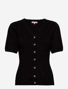 Ria SS V-neck Cardigan Knit - strikkede toppe og t-shirts - black