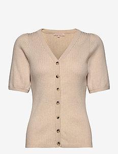 Ria SS V-neck Cardigan Knit - strikkede toppe og t-shirts - whitecap gray
