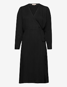 Rosanna Midi Dress - wrap dresses - black