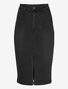 Janice HW Skirt - denim skirts - charcoal black