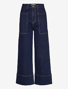 Janet High Waist Jeans - szerokie dżinsy - rinse wash blue
