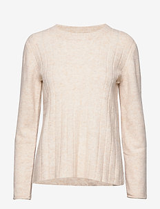 Claire O-neck Knit - jumpers - bleached sand