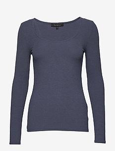 Cali Scoop Neck LS Blouse - t-shirts basiques - blue mirage