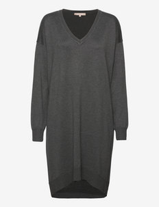SRLea V-neck Dress - summer dresses - dark grey melange