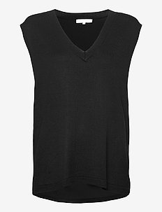 SRMarla V-neck Loose Fit Knit vest - stickade västar - black