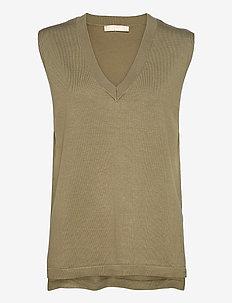 Marla V-neck Loose Fit Knit Vest - knitted vests - covert green