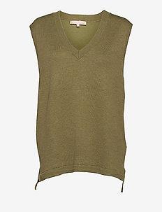 Marla V-neck Loose Fit Knit Vest - knitted vests - olive drab melange