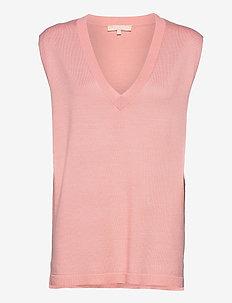 Marla V-neck Loose Fit Knit Vest - knitted vests - quartz pink