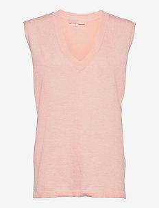Marla V-neck Loose Fit Knit Vest - knitted vests - sepia rose