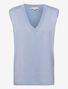 Marla V-neck Loose Fit Knit Vest - knitted vests - zen blue