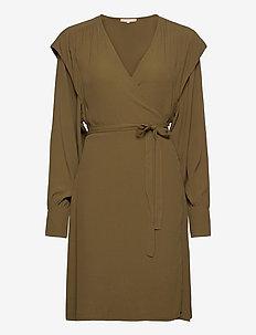 Dora Wrap Dress - summer dresses - dark olive