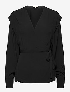 Dora LS Wrap Top - blouses med lange mouwen - black