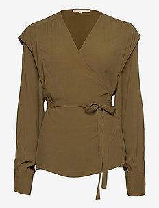 Dora LS Wrap Top - blouses med lange mouwen - dark olive