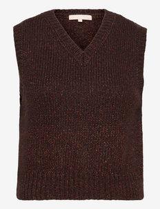 SRRick High V-neck Vest Knit - knitted vests - shaved chocolate