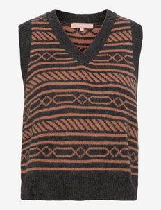 SRLouisa Intarsia Vest Knit - knitted vests - magnet