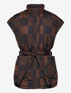 SRSigrid Vest - puffer vests - big square chocolate