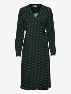 SREllie Midi Wrap Dress - zomerjurken - mini square bayberry