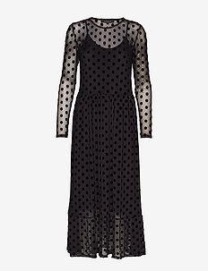Smile LS Midi Dress - BLACK