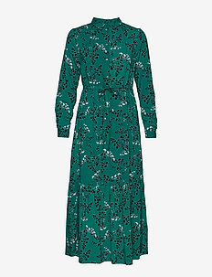Leaf LS Ankle Dress - EVERGREEN