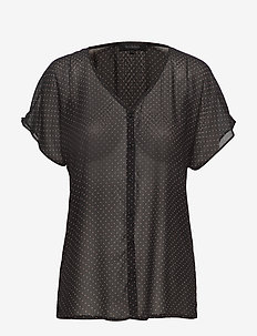 Diana SS Shirt - short-sleeved blouses - black