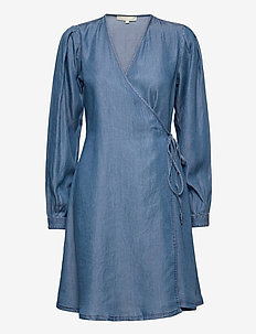 SRSasha LS Wrap Dress - wikkel jurken - mid blue