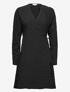 SRJeanie LS Wrap Dress - everyday dresses - black