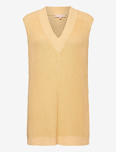SRTammy V-neck Knit Vest - strikveste - reed yellow