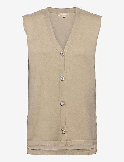 SRLisa V-neck Vest Cardigan Knit - strikveste - white pepper