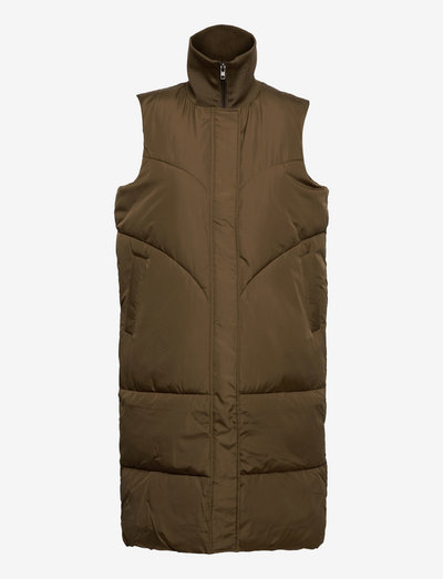 SRInga Puffer Vest - vatteret veste - dark olive