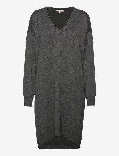 SRLea V-neck Dress - sommerkjoler - dark grey melange
