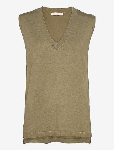 Marla V-neck Loose Fit Knit Vest - strikveste - covert green