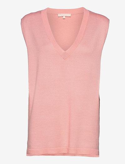 Marla V-neck Loose Fit Knit Vest - strikveste - quartz pink