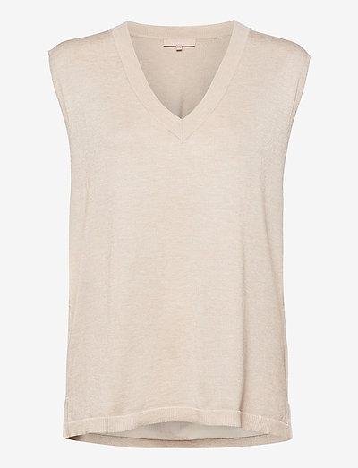 Marla V-neck Loose Fit Knit Vest - strikveste - whitecap gray