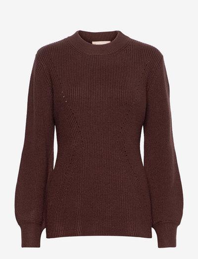 SRJenny LS Knit - trøjer - shaved chocolate