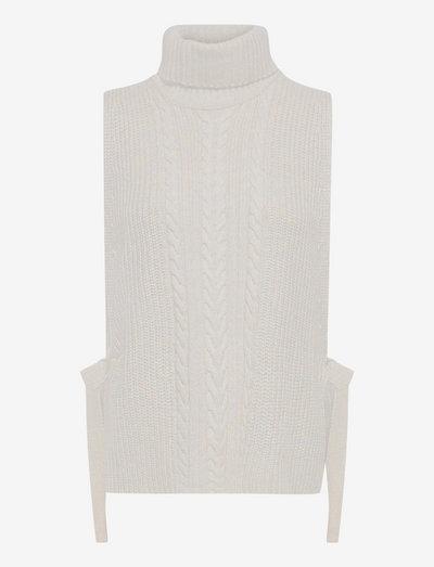 SRKirsti Roll Neck Vest Knit - knitted vests - silver cloud