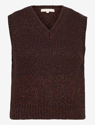 SRRick High V-neck Vest Knit - strikveste - shaved chocolate