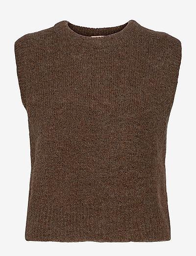 SRStinne Vest Knit - strikveste - shaved chocolate