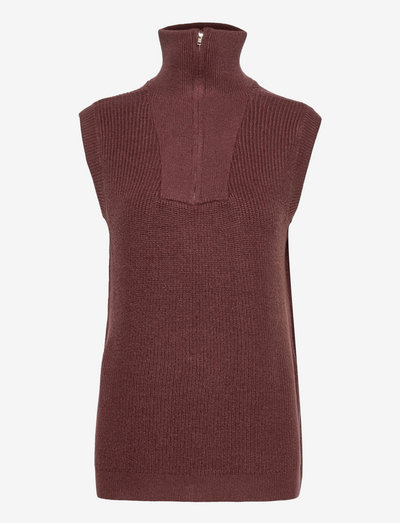 SRJenny Zip Vest Knit - strikveste - shaved chocolate