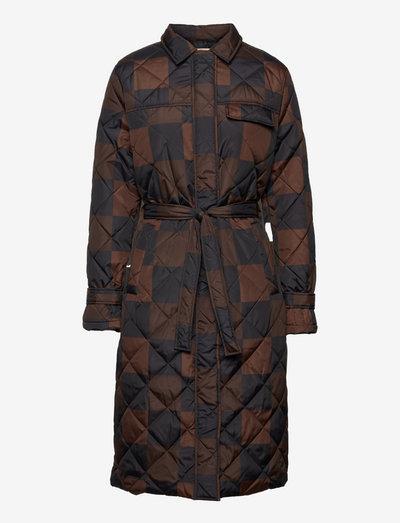 SRSigrid Quilt Coat - padded coats - big square chocolate