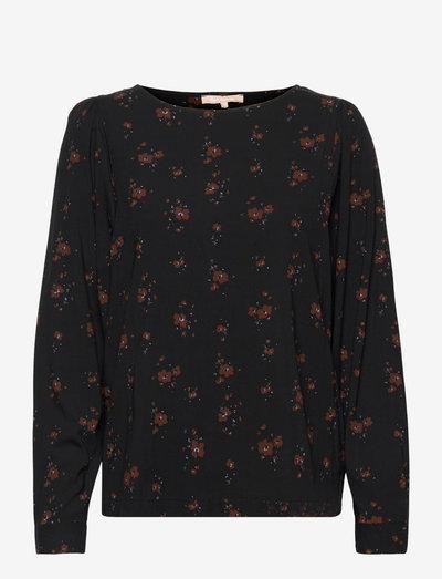 SREllie LS Blouse - long sleeved blouses - flower print chocolate