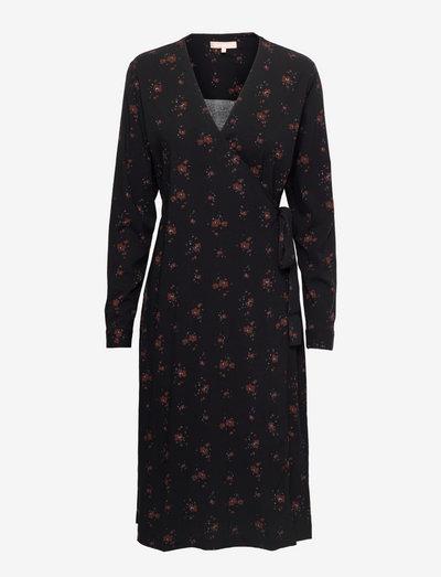 SREllie Midi Wrap Dress - sommerkjoler - flower print chocolate