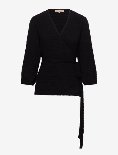 SRIben Wrap Top - long sleeved blouses - black