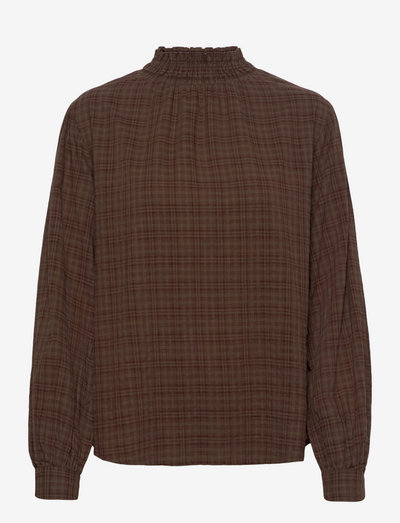SRVilda LS Blouse - long sleeved blouses - shaved chocolate