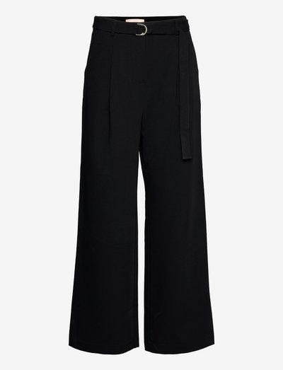 SRLucca Belted Wide Pant - bukser med brede ben - black