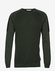 6192601, Knit - Dash O-Neck - basic knitwear - deep fores