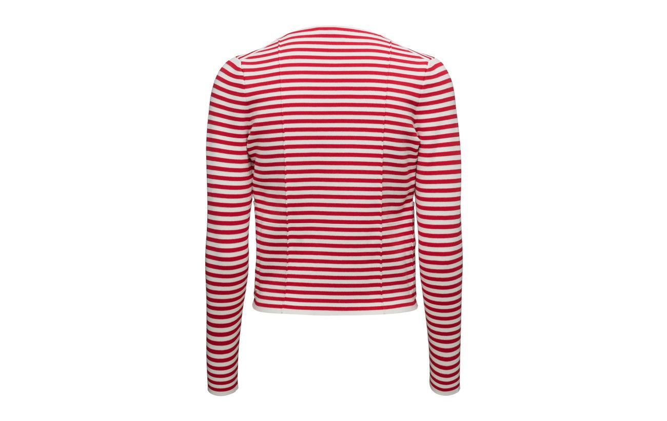 48 rouge 52 Sonia Polyester Veste Courte Rykiel Coton Blanc SZOHq0I