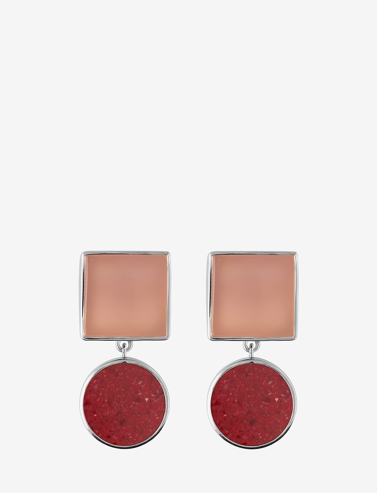 SOPHIE by SOPHIE - Irregular stone earrings - statement-øredobber - red - 0